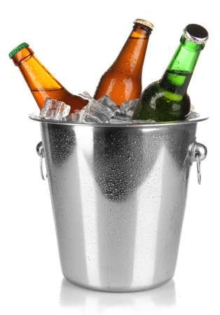 Beer bottles in ice bucket isolated on white Stock Photo - 17052687