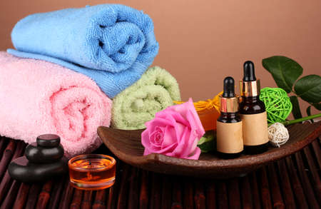 spa setting  on  brown background photo