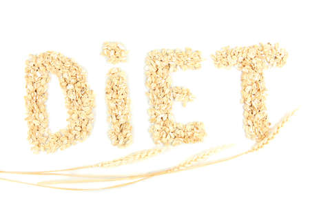 the word diet made from oat flakes with ears isolated on white Stock Photo - 17052591