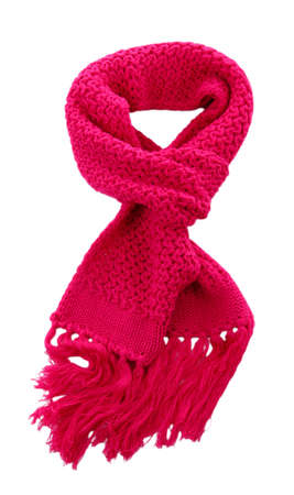 Pink knitted scarf isolated on white  Stock Photo - 17052636