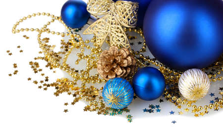 beautiful blue Christmas balls and cone isolated on white Stock Photo - 17064168