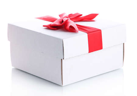 gift box with red ribbon, isolated on white Stock Photo - 17063752