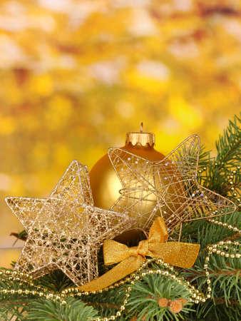 Christmas decoration on yellow background Stock Photo - 17064363