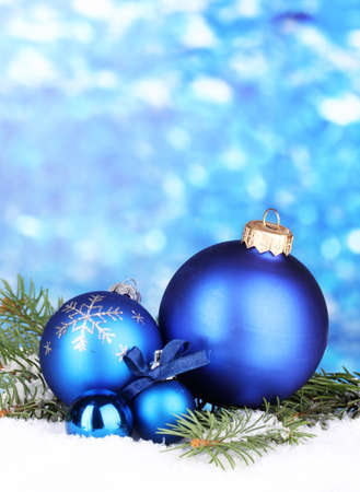 Christmas decoration on blue background photo