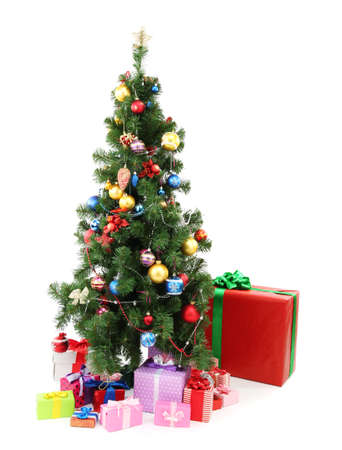Decorated Christmas tree with gifts isolated on white Stock Photo - 17063896