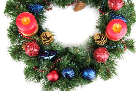 Beautiful Christmas wreath isolated on white photo