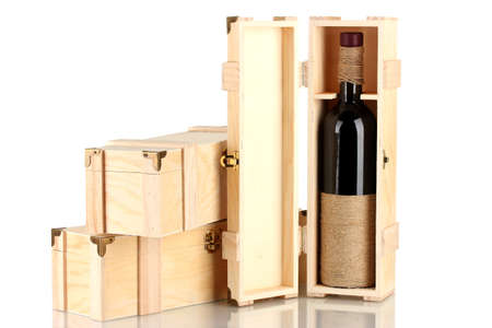 Wine bottle in wooden box, isolated on white Stock Photo - 17064032
