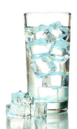 Ice cubes in glass isolated on white Stock Photo - 17063976