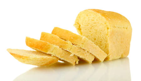 tasty sliced bread, isolated on white photo