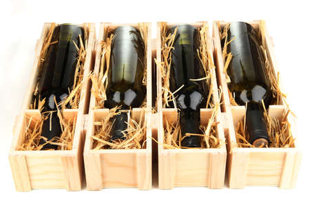 bordeau: Wooden case with wine bottles isolated on white