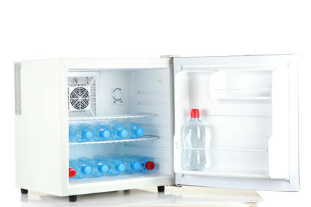 mini fridge full of bottled water isolated on white Stock Photo - 17111770