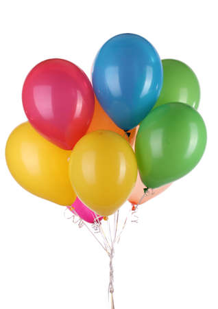 Colorful balloons isolated on white photo