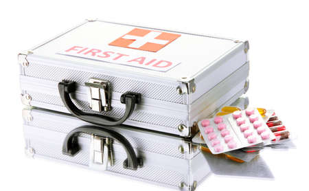First aid box, isolated on white photo
