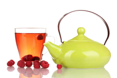 tea with raspberries isolated on white photo
