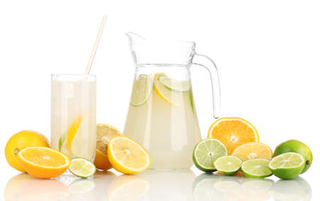 Citrus lemonade in pitcher and glass of citrus around isolated on white Stock Photo - 17111604
