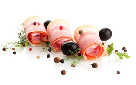 tasty bacon with olives and spices, isolated on white photo