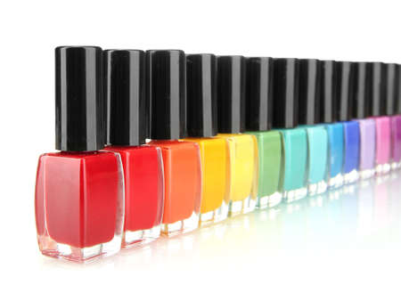 Group of bright nail polishes isolated on white Stock Photo - 17111537