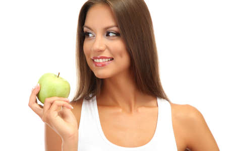 beautiful young woman with green apple, isolated on white Stock Photo - 17281973