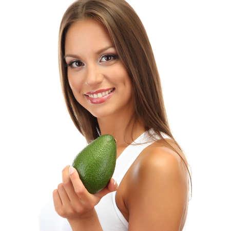 avocado: bella giovane donna con avocado, isolato su bianco