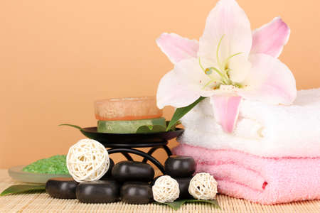 beautiful spa setting on beige background photo