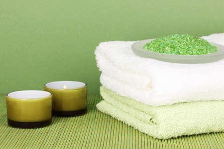 beautiful spa setting on green background Stock Photo - 17117564