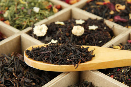 assortment of dry tea in wooden box, close up Stock Photo - 17117833