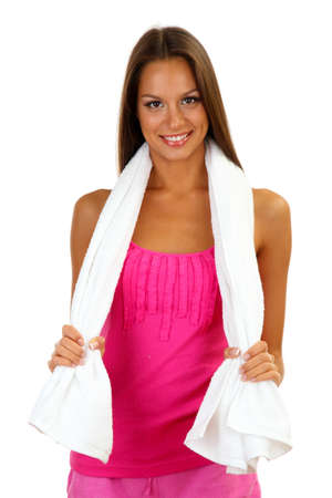young smiling woman with towel isolated on white photo