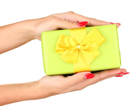woman holds  box with gift on white background close-up photo