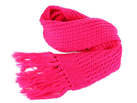 Warm knitted scarf pink isolated on white Stock Photo - 17116848