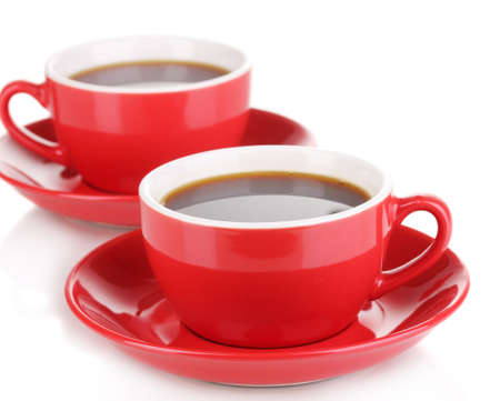 A red cups of strong coffee isolated on white photo