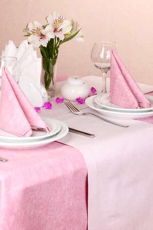 Elegant table setting in restaurant Stock Photo - 17117802