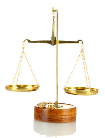Gold scales of justice isolated on white Stock Photo - 17111332