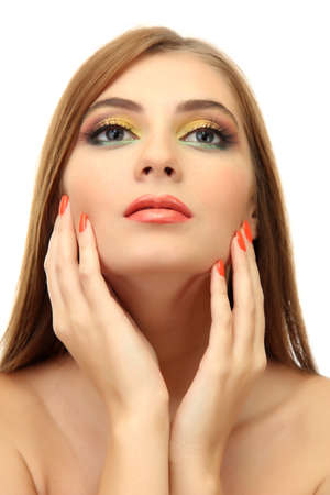 portrait of sexy young woman with glamour make up and orange manicure photo