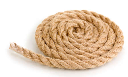 Skein of rope isolated on white photo