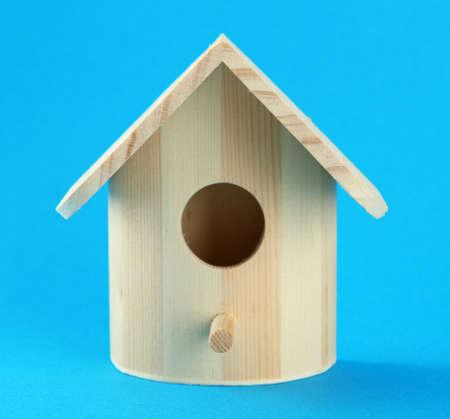 bird house: Nesting box on color background Stock Photo