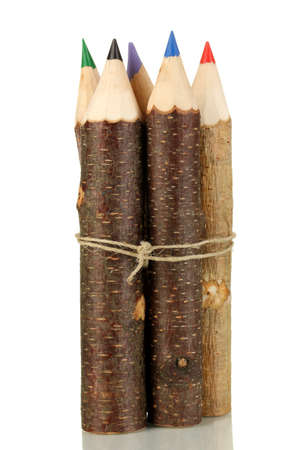 Colorful wooden pencils isolated on white photo