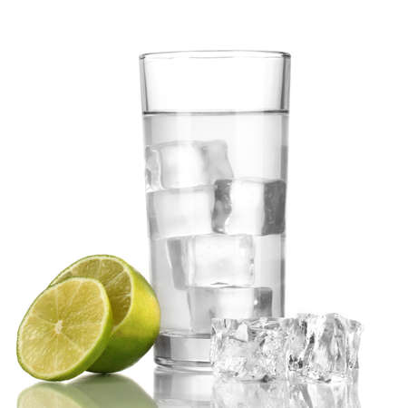 Ice cubes in glass with lime isolated on white Stock Photo - 17112223