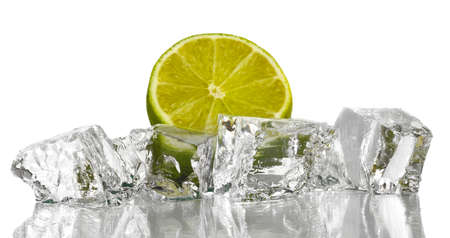 ice cubes: Ice cubes with lime isolated on white Stock Photo