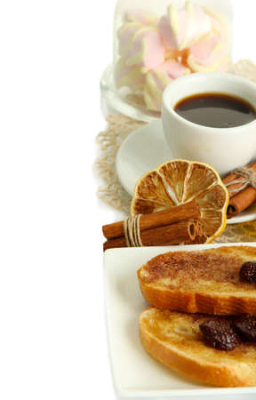 White bread toast with jam and cup of coffee, isolated on white Stock Photo - 17112085