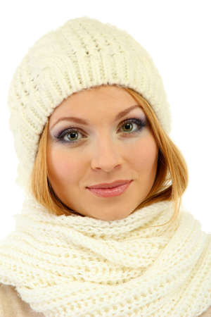 Young beautiful woman wearing winter clothing, isolated on white Stock Photo - 17281502
