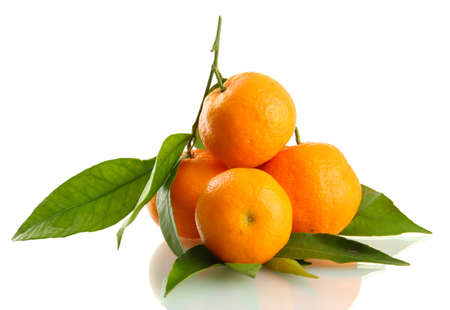 Ripe sweet tangerines with leaves, isolated on white Stock Photo - 17111739