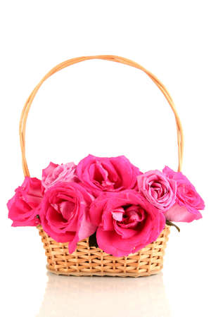 five petals: Beautiful pink roses in basket isolated on white