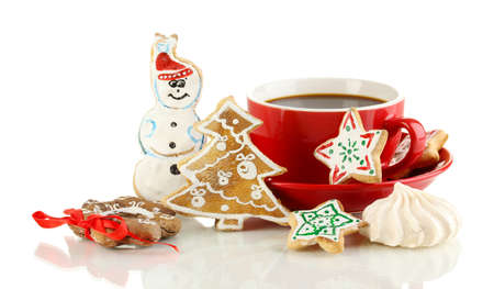 Christmas treats with cup of coffe isolated on white photo