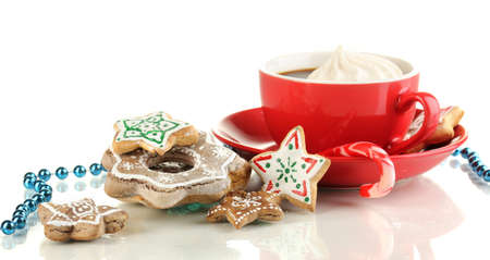 kiss biscuits: Christmas treats with cup of coffe isolated on white