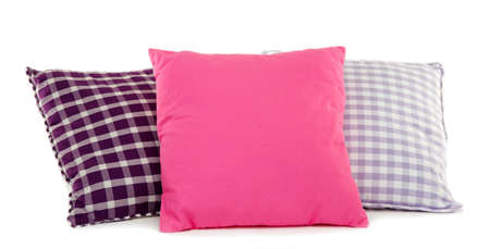 Colorful pillows isolated on white photo
