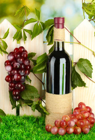 a bottle of wine on the fence background close-up Stock Photo - 17144235