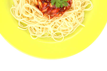Italian spaghetti in plate close-up photo