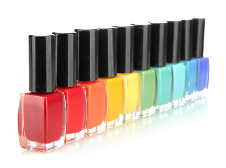 Group of bright nail polishes isolated on white Stock Photo - 17139692