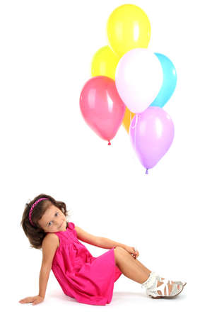 beautiful little girl with balloons isolated on white Stock Photo - 17282976