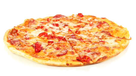 Tasty pepperoni pizza isolated on white photo